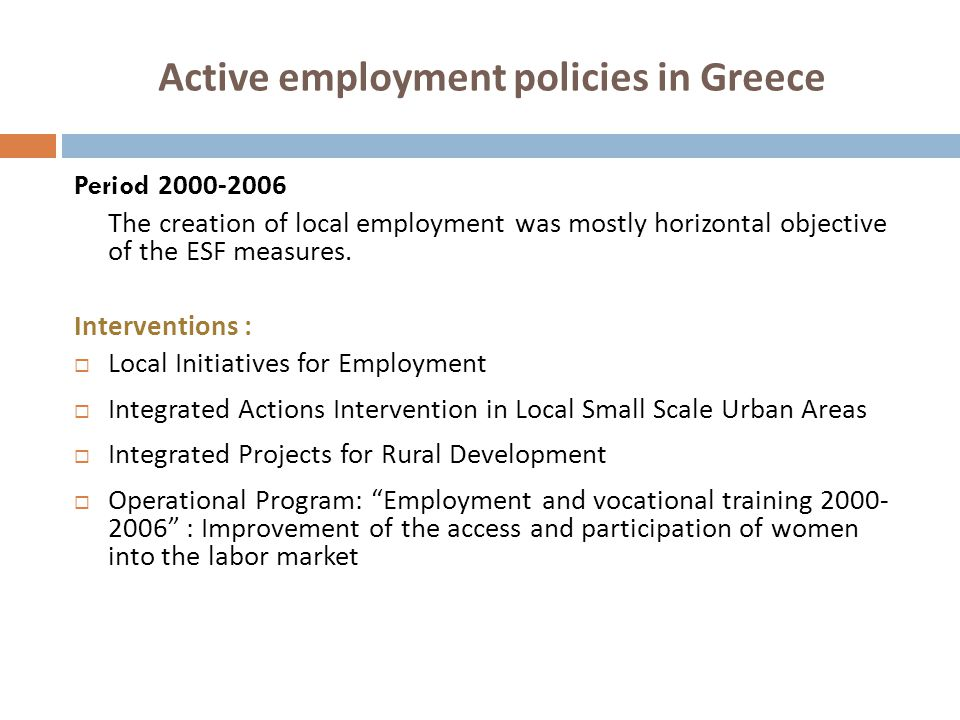Active employment policies in Greece Period 2000-2006 The creation of local employment was mostly horizontal objective of the ESF measures. Interventi