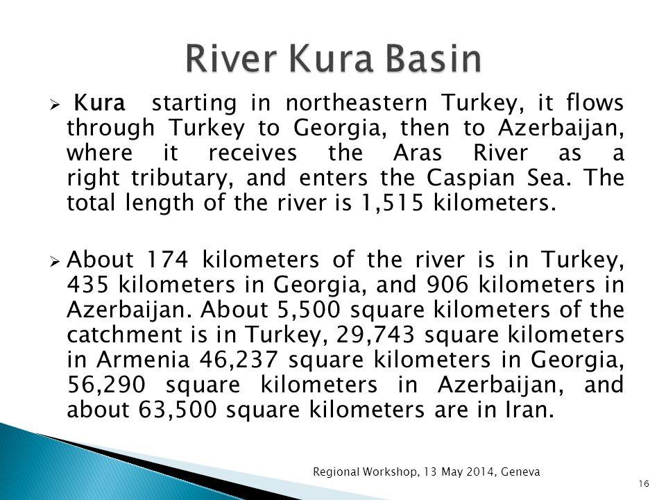  Kura starting in northeastern Turkey, it flows through Turkey to Georgia, then to Azerbaijan, where it receives the Aras River as a right tributary, and enters the Caspian Sea.