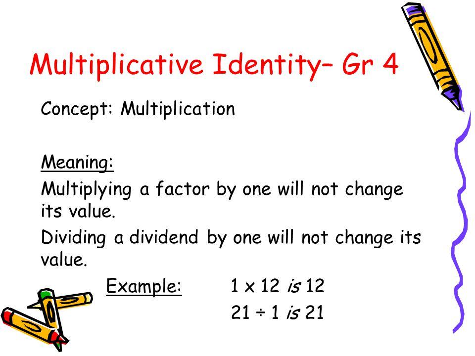 Zero Property of Multiplication– Gr 4 Concept: Multiplication Meaning: Multiplying a factor by zero will always result in zero. Example: 30 x 0 is 0 0