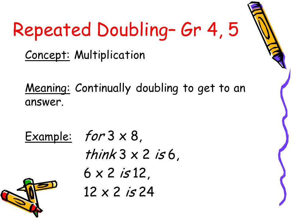 4 x 9 = 36 5 x 9 = 45 6 x 9 = 54 7 x 9 = 63 8 x 9 = 72 Practising the Strategy