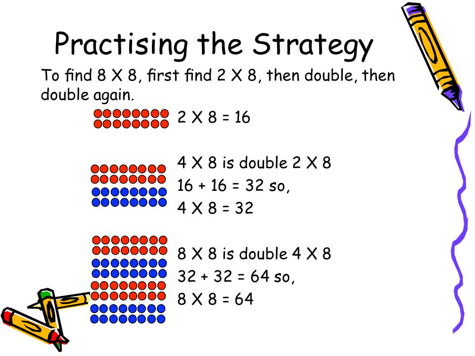Repeated Doubling– Gr 4, 5 Concept: Multiplication Meaning: Continually doubling to get to an answer. Example: for 3 x 8, think 3 x 2 is 6, 6 x 2 is 1