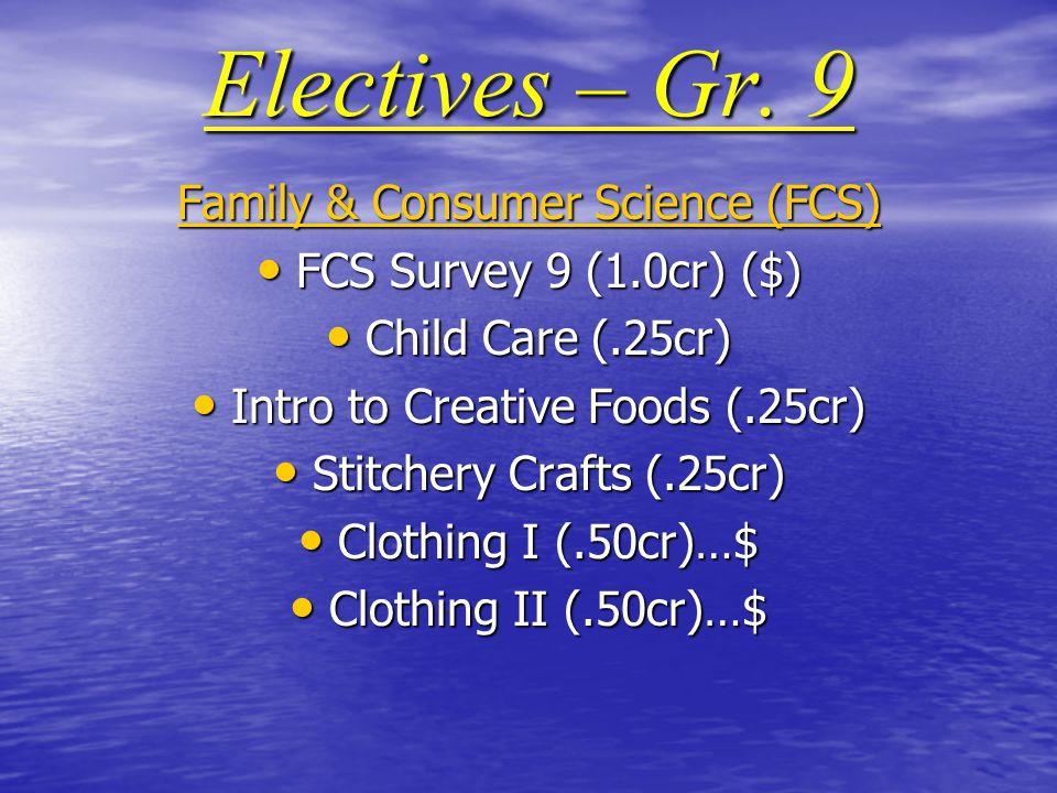 Electives – Gr.