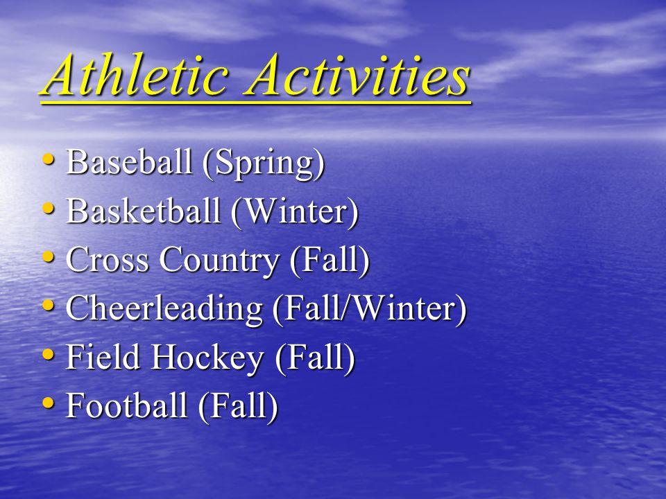 Athletic Activities Baseball (Spring) Baseball (Spring) Basketball (Winter) Basketball (Winter) Cross Country (Fall) Cross Country (Fall) Cheerleading (Fall/Winter) Cheerleading (Fall/Winter) Field Hockey (Fall) Field Hockey (Fall) Football (Fall) Football (Fall)