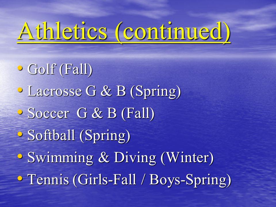 Athletics (continued) Golf (Fall) Golf (Fall) Lacrosse G & B (Spring) Lacrosse G & B (Spring) Soccer G & B (Fall) Soccer G & B (Fall) Softball (Spring) Softball (Spring) Swimming & Diving (Winter) Swimming & Diving (Winter) Tennis (Girls-Fall / Boys-Spring) Tennis (Girls-Fall / Boys-Spring)