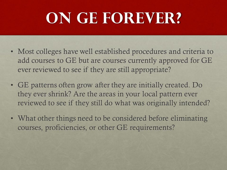 On ge forever.