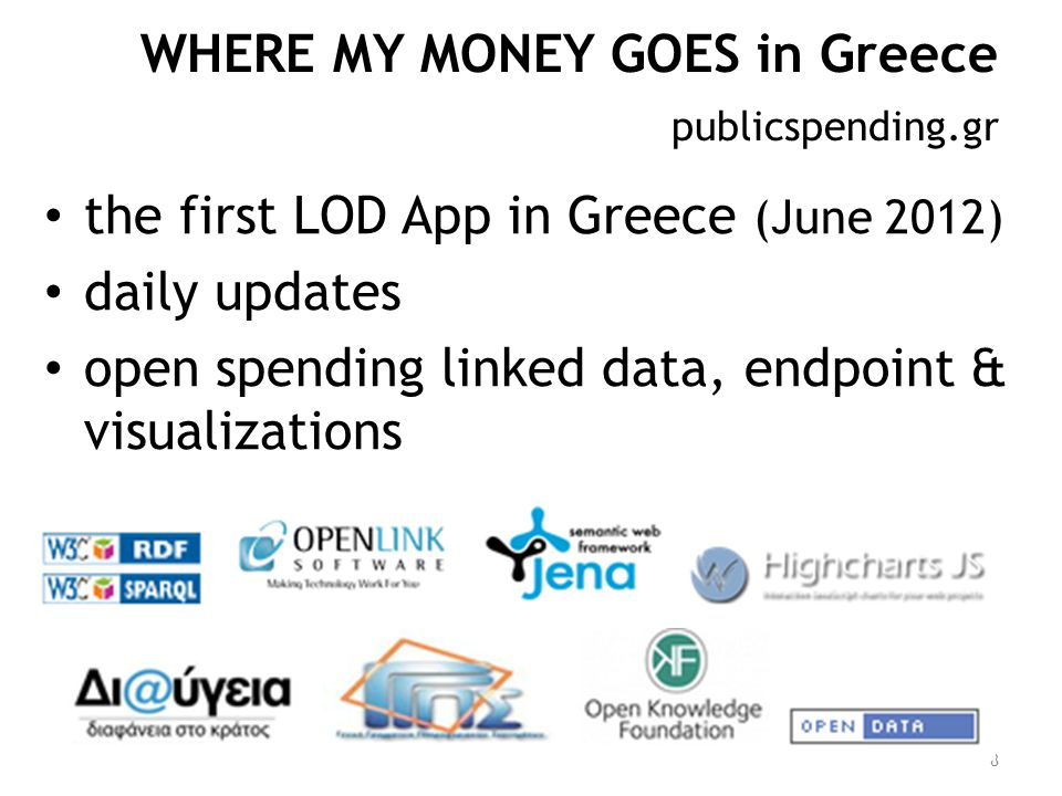 Checklist Ontology Basic visualizations SPARQL endpoint Interconnections Product classifications  Greek LOD (e-proc, geodata, dbpedia)  EU and US Demos & services  Public awareness - working with the media, hackathons, courses, theses 9