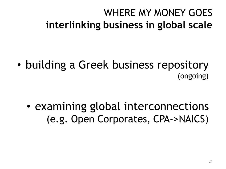 WHERE MY MONEY GOES interlinking business in global scale building a Greek business repository (ongoing) examining global interconnections (e.g. Open