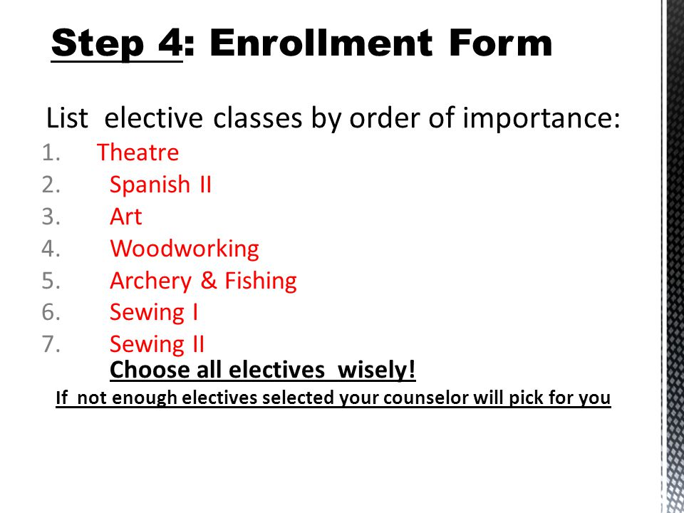List elective classes by order of importance: 1.Theatre 2.Spanish II 3.Art 4.Woodworking 5.Archery & Fishing 6.Sewing I 7.Sewing II Choose all electives wisely.