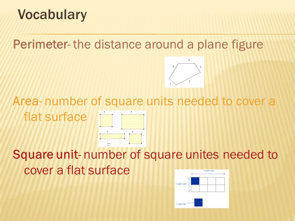 Vocabulary Perimeter- the distance around a plane figure Area- number of square units needed to cover a flat surface Square unit- number of square unites needed to cover a flat surface