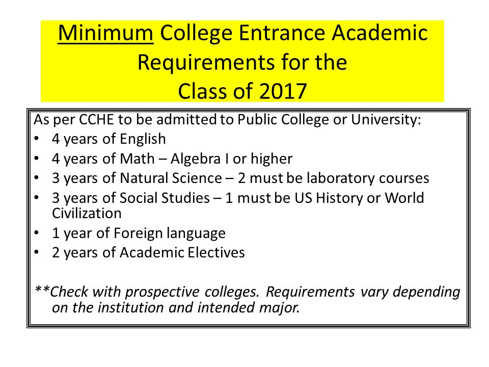 Minimum College Entrance Academic Requirements for the Class of 2017 As per CCHE to be admitted to Public College or University: 4 years of English 4 years of Math – Algebra I or higher 3 years of Natural Science – 2 must be laboratory courses 3 years of Social Studies – 1 must be US History or World Civilization 1 year of Foreign language 2 years of Academic Electives **Check with prospective colleges.