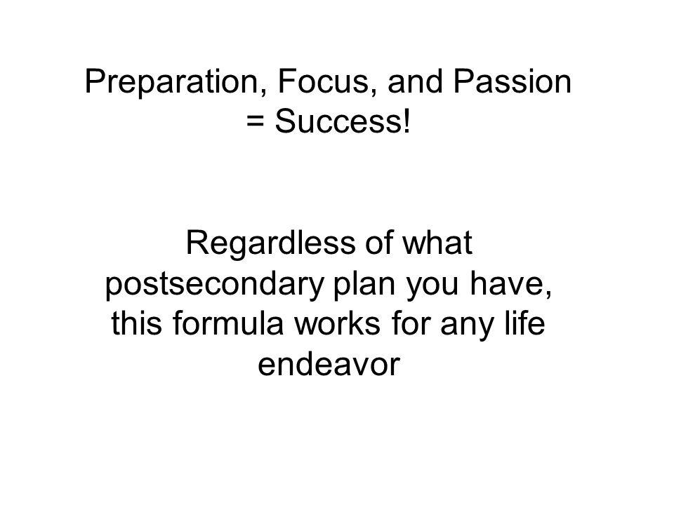 Preparation, Focus, and Passion = Success.