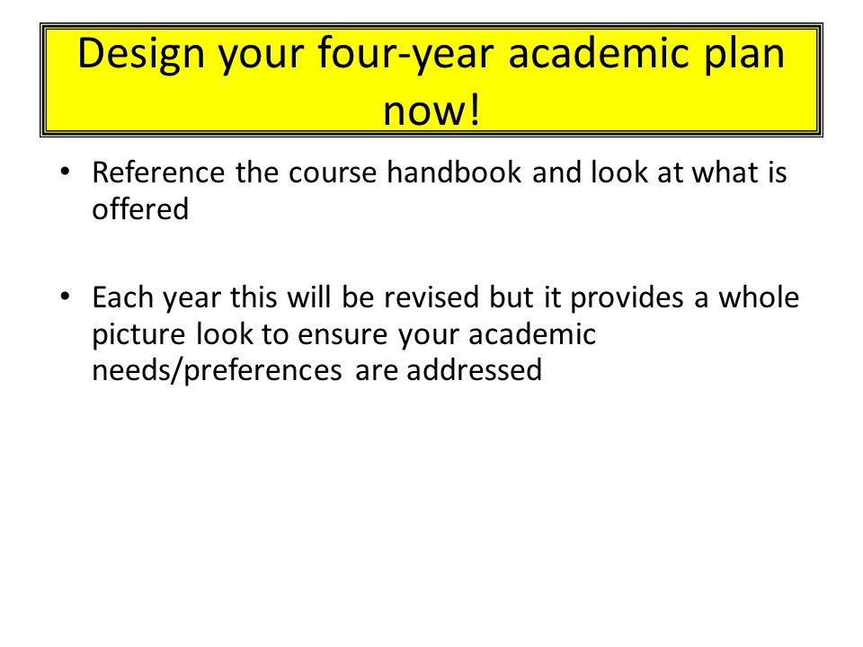 Design your four-year academic plan now.