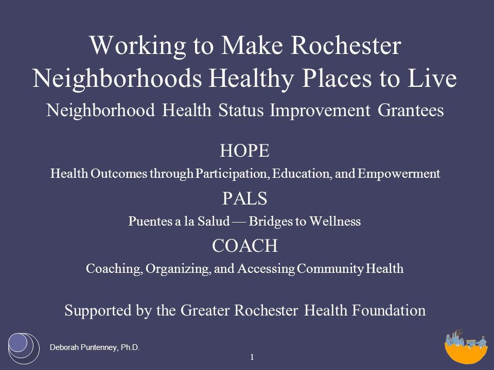 Deborah Puntenney, Ph.D. Working to Make Rochester Neighborhoods Healthy Places to Live Neighborhood Health Status Improvement Grantees HOPE Health Ou