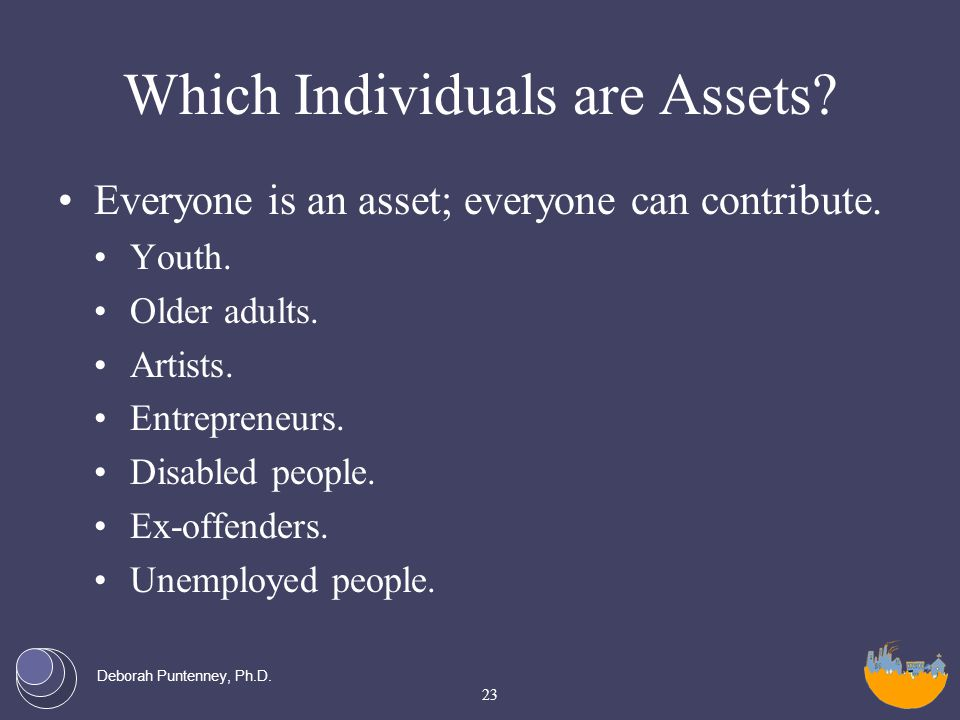 Deborah Puntenney, Ph.D. Which Individuals are Assets.