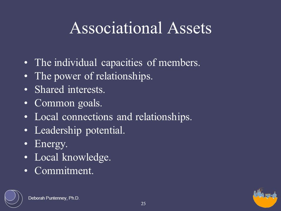Deborah Puntenney, Ph.D. Associational Assets The individual capacities of members.