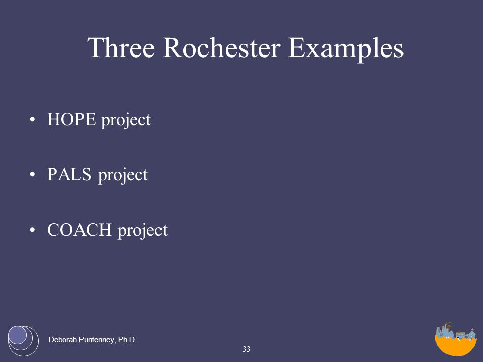 Deborah Puntenney, Ph.D. Three Rochester Examples HOPE project PALS project COACH project 33