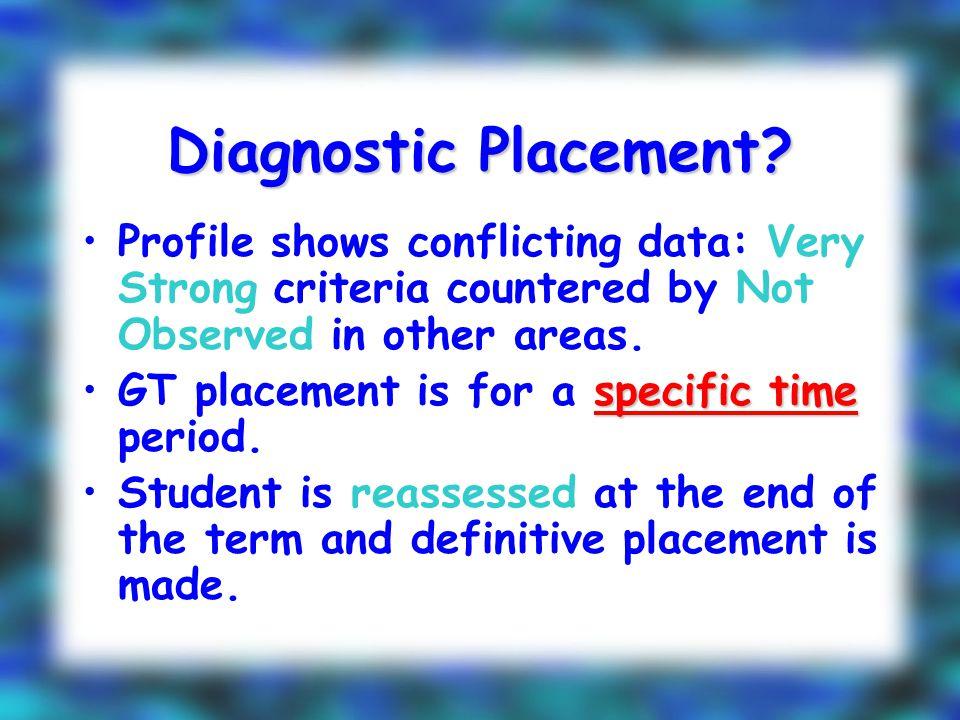 Diagnostic Placement.