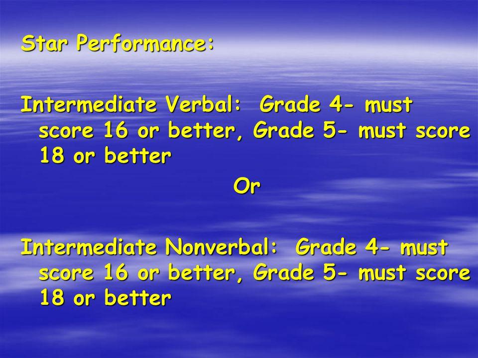 Star Performance: Intermediate Verbal: Grade 4- must score 16 or better, Grade 5- must score 18 or better Or Intermediate Nonverbal: Grade 4- must sco