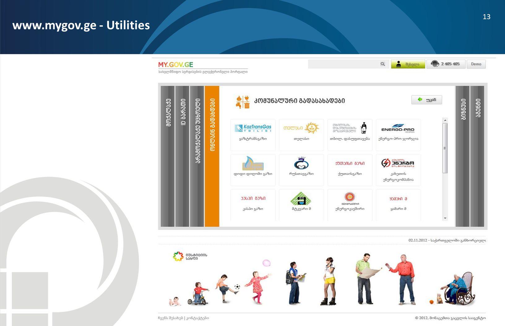 13 www.mygov.ge - Utilities