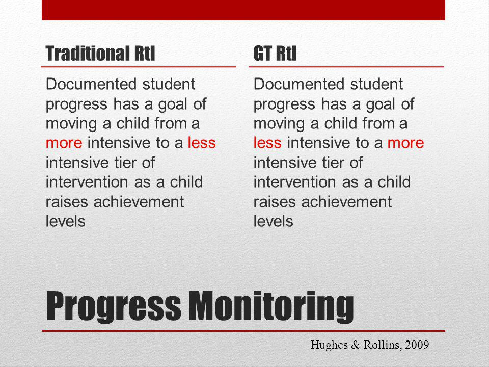 Progress Monitoring Traditional RtI Documented student progress has a goal of moving a child from a more intensive to a less intensive tier of intervention as a child raises achievement levels GT RtI Documented student progress has a goal of moving a child from a less intensive to a more intensive tier of intervention as a child raises achievement levels Hughes & Rollins, 2009