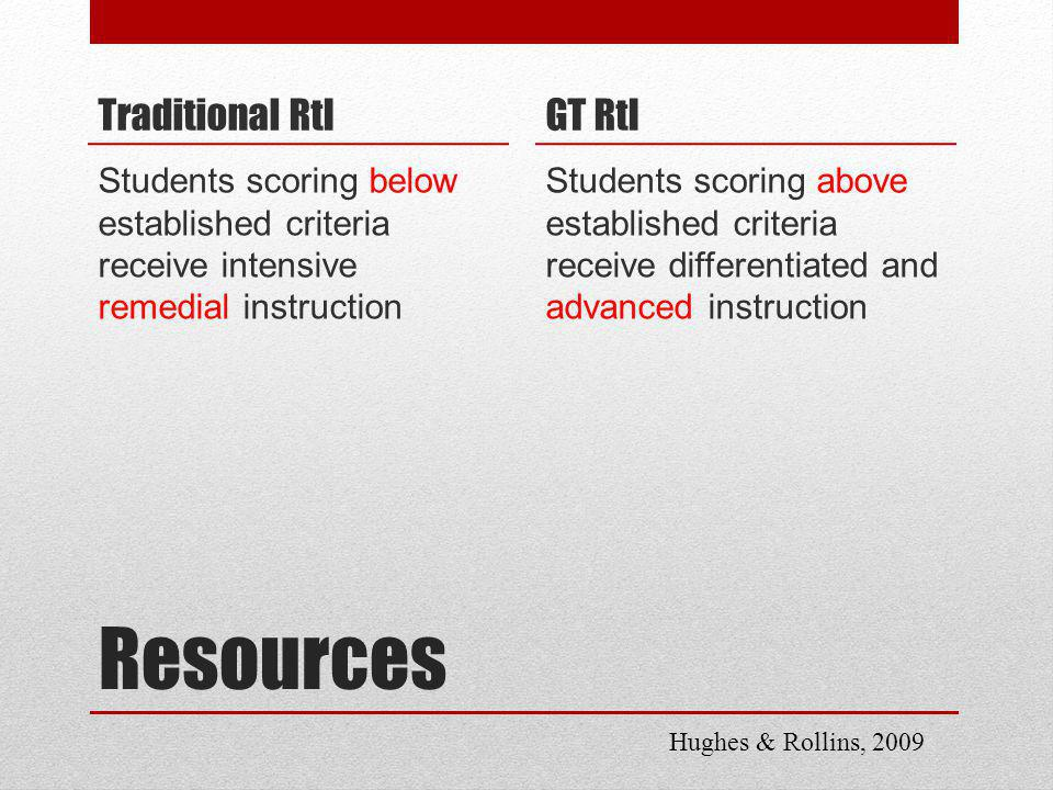 Resources Traditional RtI Students scoring below established criteria receive intensive remedial instruction GT RtI Students scoring above established criteria receive differentiated and advanced instruction Hughes & Rollins, 2009