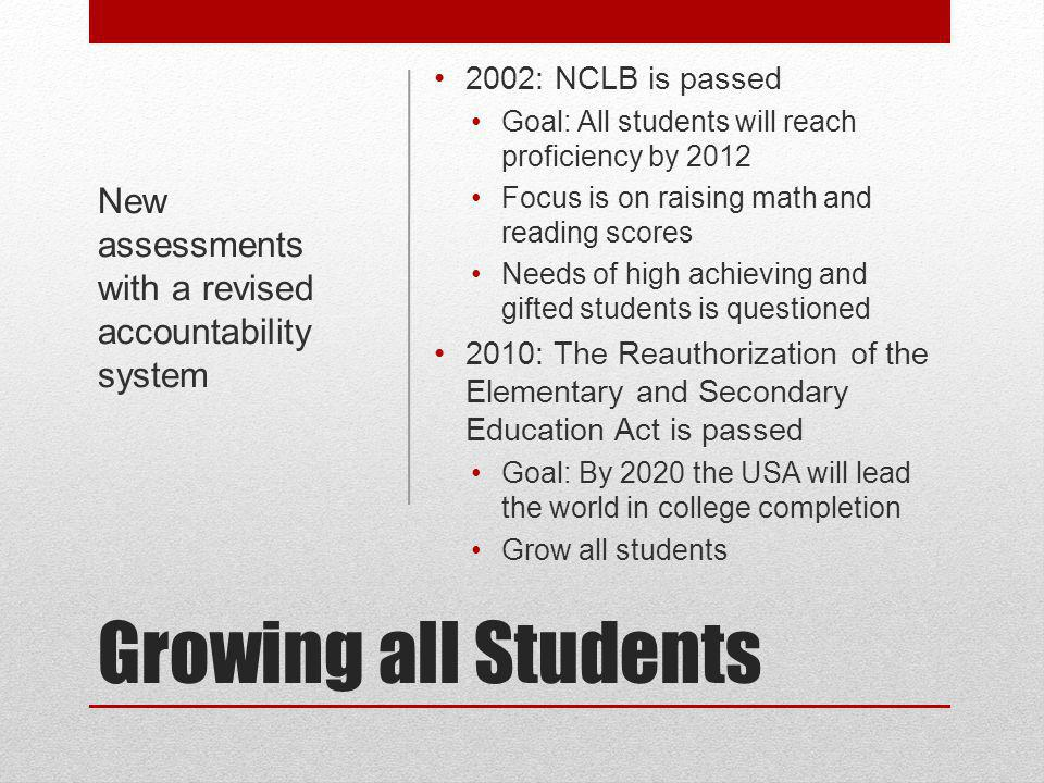 Growing all Students 2002: NCLB is passed Goal: All students will reach proficiency by 2012 Focus is on raising math and reading scores Needs of high achieving and gifted students is questioned 2010: The Reauthorization of the Elementary and Secondary Education Act is passed Goal: By 2020 the USA will lead the world in college completion Grow all students New assessments with a revised accountability system