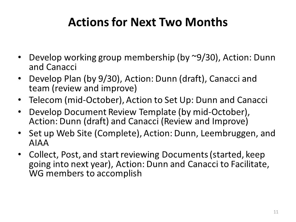Actions for Next Two Months Develop working group membership (by ~9/30), Action: Dunn and Canacci Develop Plan (by 9/30), Action: Dunn (draft), Canacci and team (review and improve) Telecom (mid-October), Action to Set Up: Dunn and Canacci Develop Document Review Template (by mid-October), Action: Dunn (draft) and Canacci (Review and Improve) Set up Web Site (Complete), Action: Dunn, Leembruggen, and AIAA Collect, Post, and start reviewing Documents (started, keep going into next year), Action: Dunn and Canacci to Facilitate, WG members to accomplish 11