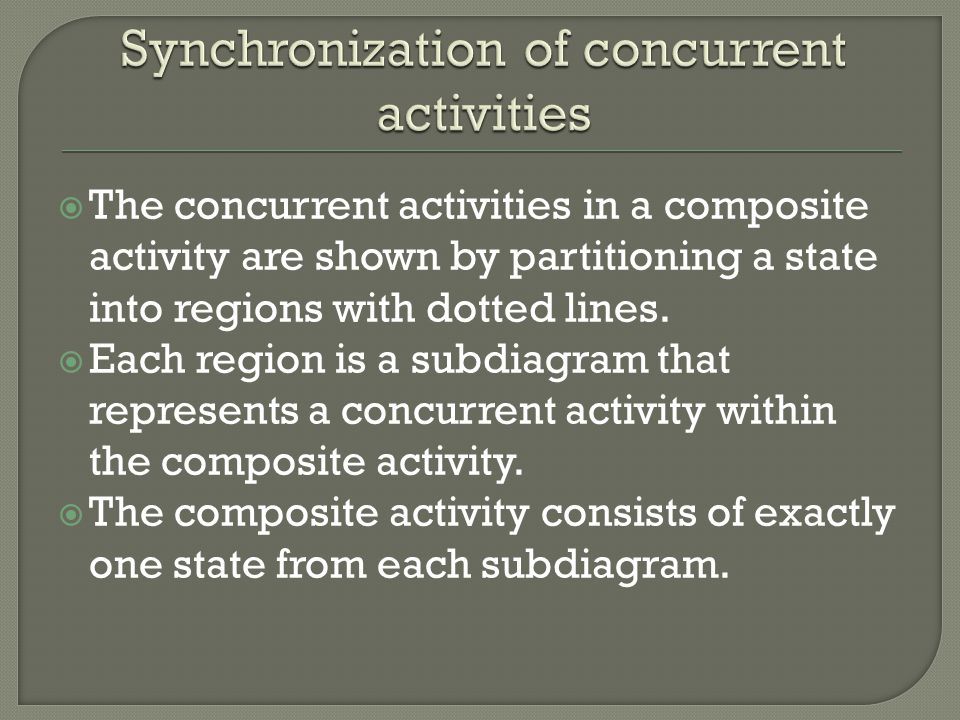  The concurrent activities in a composite activity are shown by partitioning a state into regions with dotted lines.  Each region is a subdiagram th
