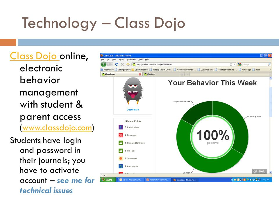 Technology – Class Dojo Class Dojo Class Dojo online, electronic behavior management with student & parent access (www.classdojo.com)www.classdojo.com Students have login and password in their journals; you have to activate account – see me for technical issues