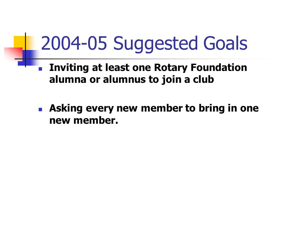 2004-05 Suggested Goals Inviting at least one Rotary Foundation alumna or alumnus to join a club Asking every new member to bring in one new member.