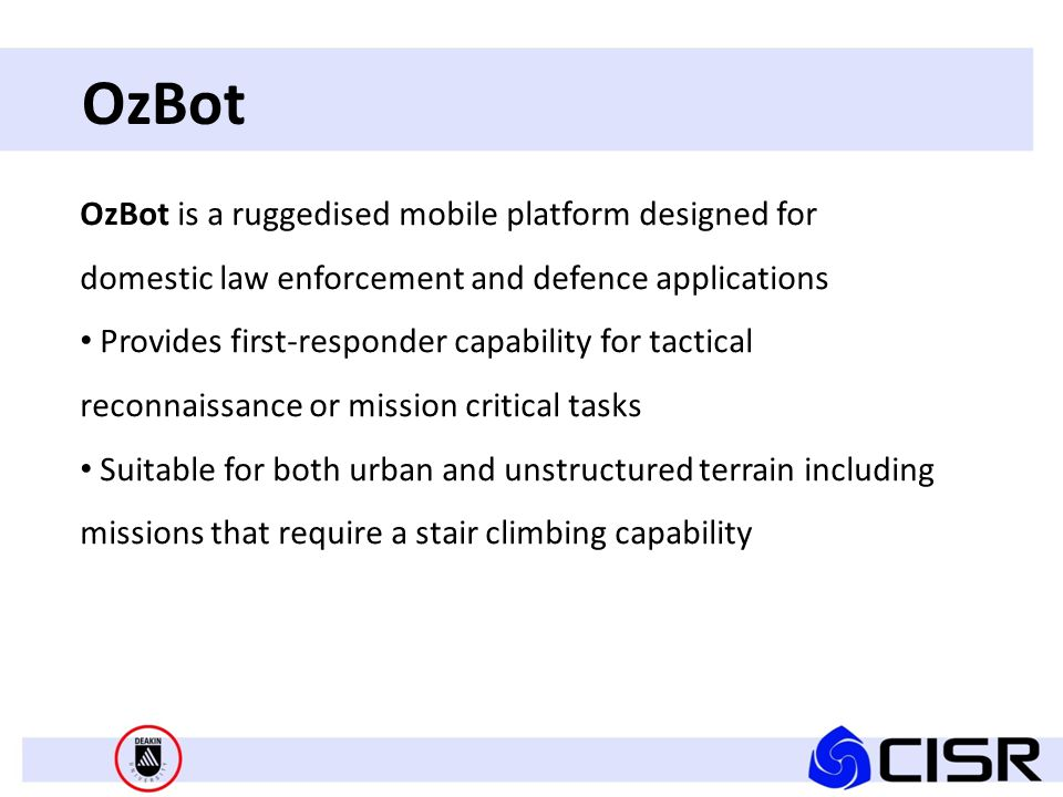 OzBot - Tele-op controller All functions of the remote platform are accessed using the portable hand-held controller