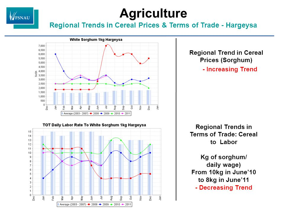 Regional Trend in Cereal Prices (Sorghum) - Increasing Trend Regional Trends in Terms of Trade: Cereal to Labor Kg of sorghum/ daily wage) From 10kg in June'10 to 8kg in June'11 - Decreasing Trend Agriculture Regional Trends in Cereal Prices & Terms of Trade - Hargeysa