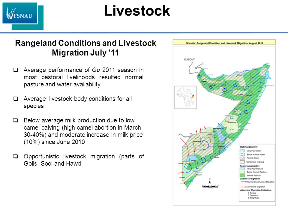 Rangeland Conditions and Livestock Migration July '11 Livestock  Average performance of Gu 2011 season in most pastoral livelihoods resulted normal p