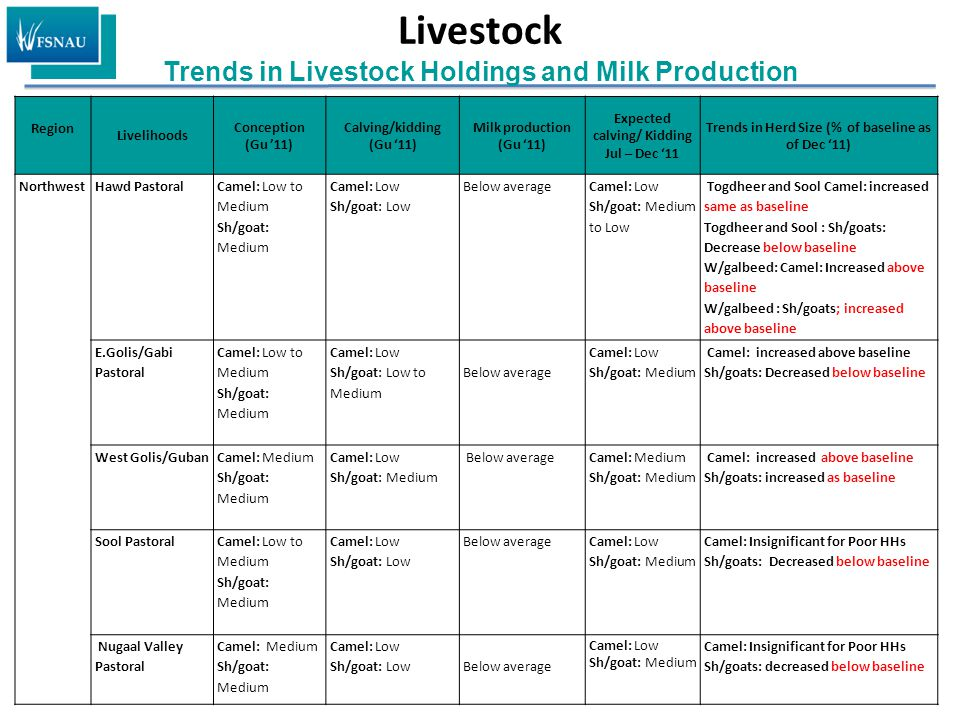Livestock Trends in Livestock Holdings and Milk Production Region Livelihoods Conception (Gu '11) Calving/kidding (Gu '11) Milk production (Gu '11) Expected calving/ Kidding Jul – Dec '11 Trends in Herd Size (% of baseline as of Dec '11) NorthwestHawd Pastoral Camel: Low to Medium Sh/goat: Medium Camel: Low Sh/goat: Low Below averageCamel: Low Sh/goat: Medium to Low Togdheer and Sool Camel: increased same as baseline Togdheer and Sool : Sh/goats: Decrease below baseline W/galbeed: Camel: Increased above baseline W/galbeed : Sh/goats; increased above baseline E.Golis/Gabi Pastoral Camel: Low to Medium Sh/goat: Medium Camel: Low Sh/goat: Low to Medium Below average Camel: Low Sh/goat: Medium Camel: increased above baseline Sh/goats: Decreased below baseline West Golis/Guban Camel: Medium Sh/goat: Medium Camel: Low Sh/goat: Medium Below averageCamel: Medium Sh/goat: Medium Camel: increased above baseline Sh/goats: increased as baseline Sool Pastoral Camel: Low to Medium Sh/goat: Medium Camel: Low Sh/goat: Low Below averageCamel: Low Sh/goat: Medium Camel: Insignificant for Poor HHs Sh/goats: Decreased below baseline Nugaal Valley Pastoral Camel: Medium Sh/goat: Medium Camel: Low Sh/goat: LowBelow average Camel: Low Sh/goat: Medium Camel: Insignificant for Poor HHs Sh/goats: decreased below baseline