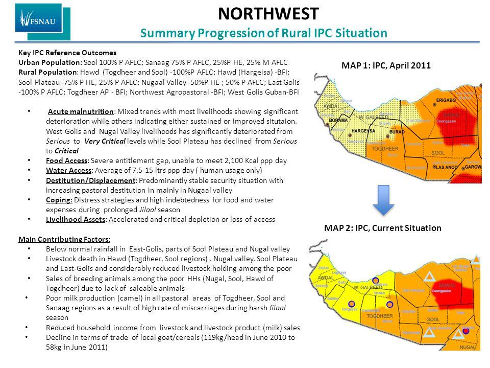 NORTHWEST Summary Progression of Rural IPC Situation Key IPC Reference Outcomes Urban Population: Sool 100% P AFLC; Sanaag 75% P AFLC, 25%P HE, 25% M