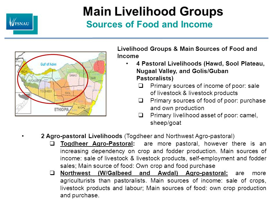 Main Livelihood Groups Sources of Food and Income 2 Agro-pastoral Livelihoods (Togdheer and Northwest Agro-pastoral)  Togdheer Agro-Pastoral: are mor