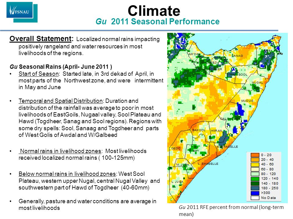 Overall Statement: Localized normal rains impacting positively rangeland and water resources in most livelihoods of the regions. Gu Seasonal Rains (Ap