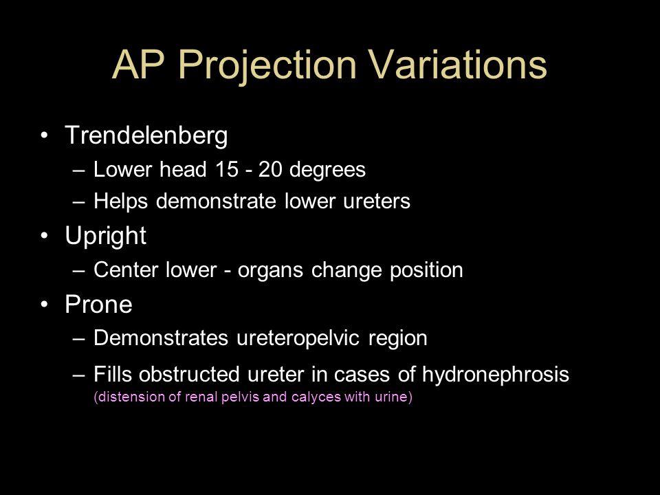 AP Projection Variations Trendelenberg –Lower head 15 - 20 degrees –Helps demonstrate lower ureters Upright –Center lower - organs change position Pro
