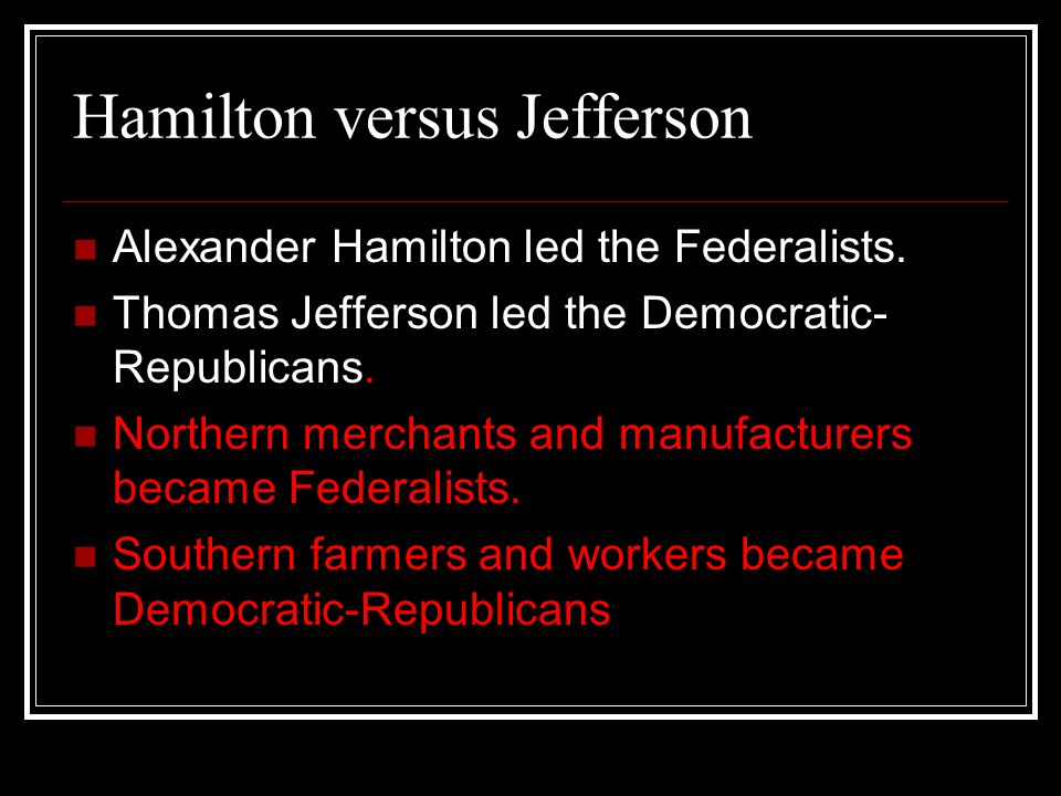 What were the differences between the Federalists and the Democrat-Republicans