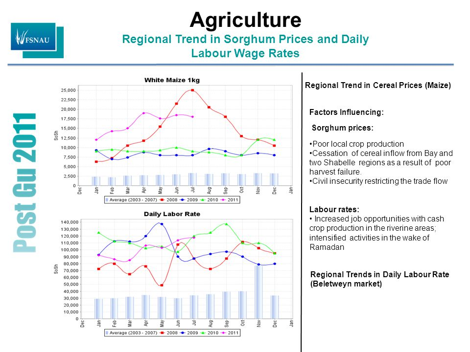 Agriculture Regional Trend in Sorghum Prices and Daily Labour Wage Rates Regional Trend in Cereal Prices (Maize) Regional Trends in Daily Labour Rate (Beletweyn market) Factors Influencing: Sorghum prices: Poor local crop production Cessation of cereal inflow from Bay and two Shabelle regions as a result of poor harvest failure.