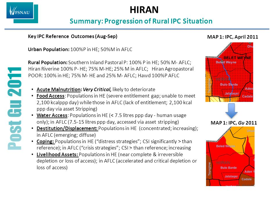 HIRAN Summary: Progression of Rural IPC Situation Key IPC Reference Outcomes (Aug-Sep) Urban Population: 100%P in HE; 50%M in AFLC Rural Population: Southern Inland Pastoral P: 100% P in HE; 50% M- AFLC; Hiran Riverine 100% P- HE; 75% M-HE; 25% M in AFLC; Hiran Agropastoral POOR: 100% in HE; 75% M- HE and 25% M- AFLC; Hawd 100%P AFLC Acute Malnutrition: Very Critical, likely to deteriorate Food Access: Populations in HE (severe entitlement gap; unable to meet 2,100 kcalppp day) while those in AFLC (lack of entitlement; 2,100 kcal ppp day via asset Stripping) Water Access: Populations in HE (< 7.5 litres ppp day - human usage only); in AFLC (7.5-15 litres ppp day, accessed via asset stripping) Destitution/Displacement: Populations in HE (concentrated; increasing); in AFLC (emerging; diffuse) Coping: Populations in HE ( distress strategies ; CSI significantly > than reference); in AFLC ( crisis strategies ; CSI > than reference; increasing Livelihood Assets: Populations in HE (near complete & irreversible depletion or loss of access); in AFLC (accelerated and critical depletion or loss of access) MAP 1: IPC, Gu 2011 MAP 1: IPC, April 2011