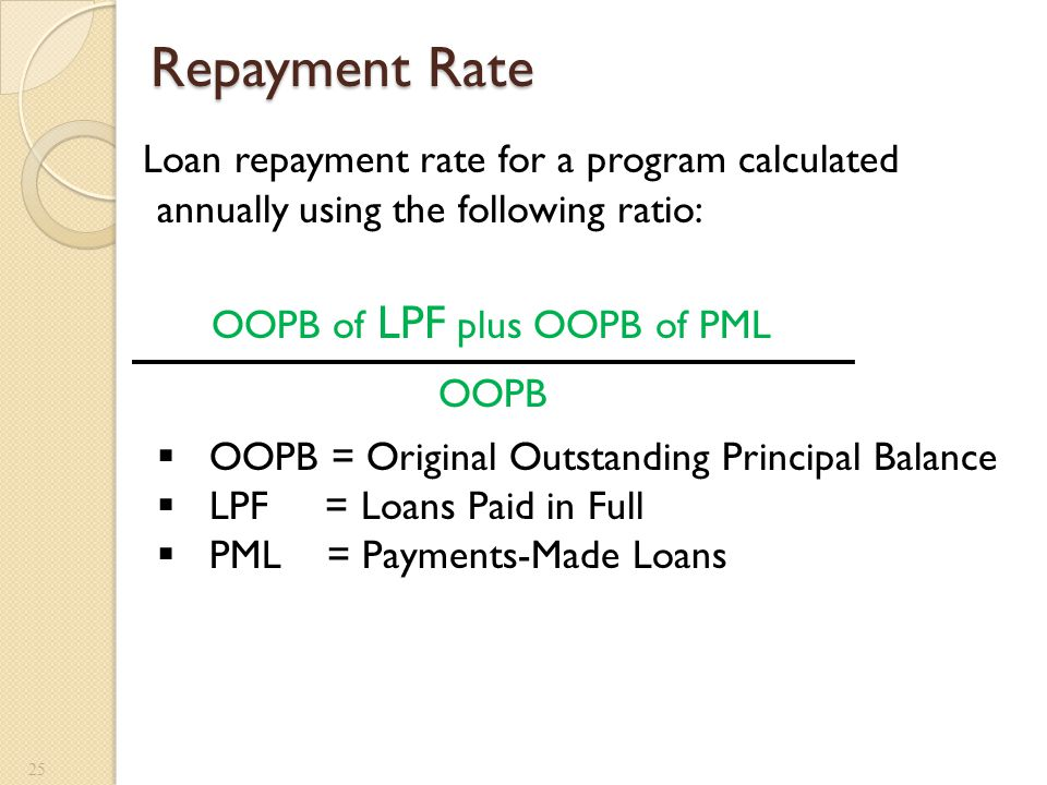 Repayment Rate 25 Loan repayment rate for a program calculated annually using the following ratio:  OOPB = Original Outstanding Principal Balance  L