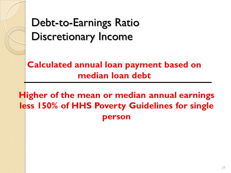 Debt-to-Earnings Ratio Discretionary Income Calculated annual loan payment based on median loan debt Higher of the mean or median annual earnings less