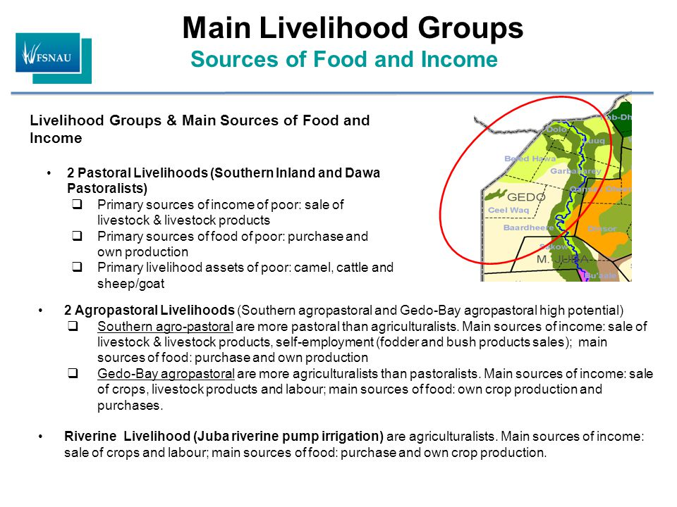 Main Livelihood Groups Sources of Food and Income 2 Agropastoral Livelihoods (Southern agropastoral and Gedo-Bay agropastoral high potential)  Southern agro-pastoral are more pastoral than agriculturalists.