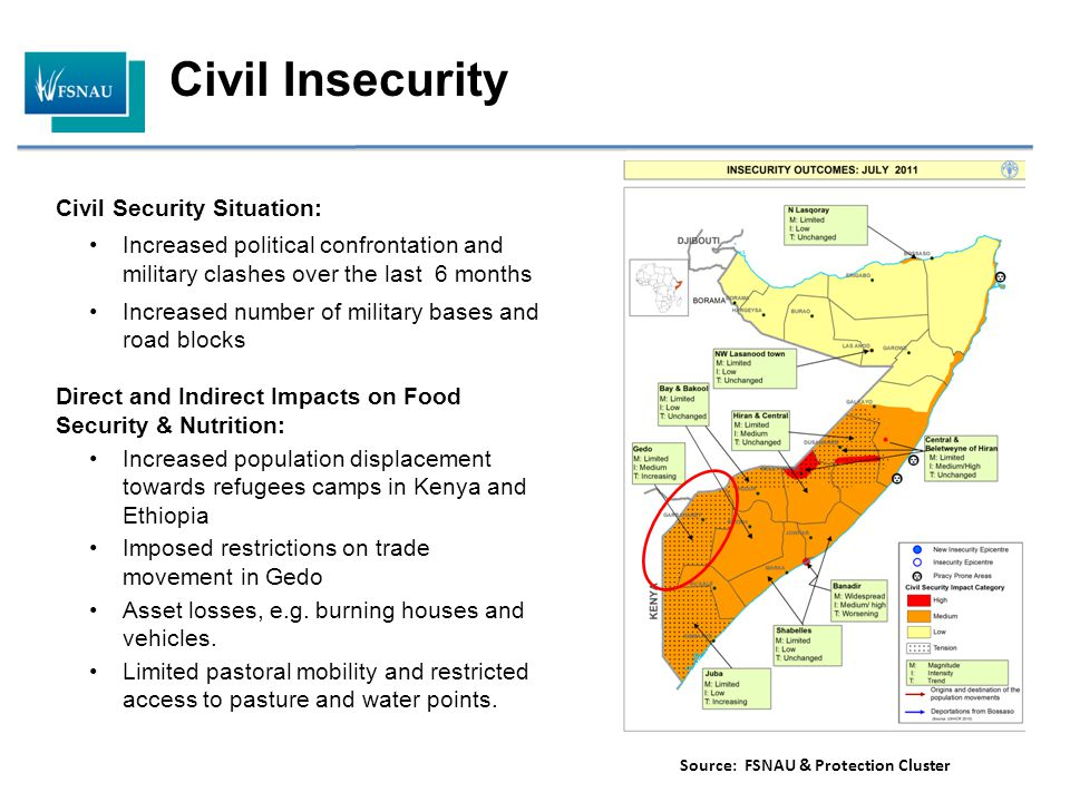 Civil Security Situation: Increased political confrontation and military clashes over the last 6 months Increased number of military bases and road bl