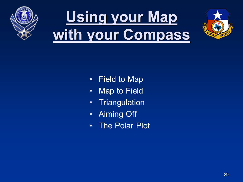 29 Using your Map with your Compass Field to Map Map to Field Triangulation Aiming Off The Polar Plot