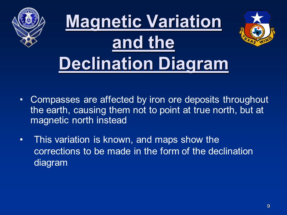 9 Magnetic Variation and the Declination Diagram Compasses are affected by iron ore deposits throughout the earth, causing them not to point at true n