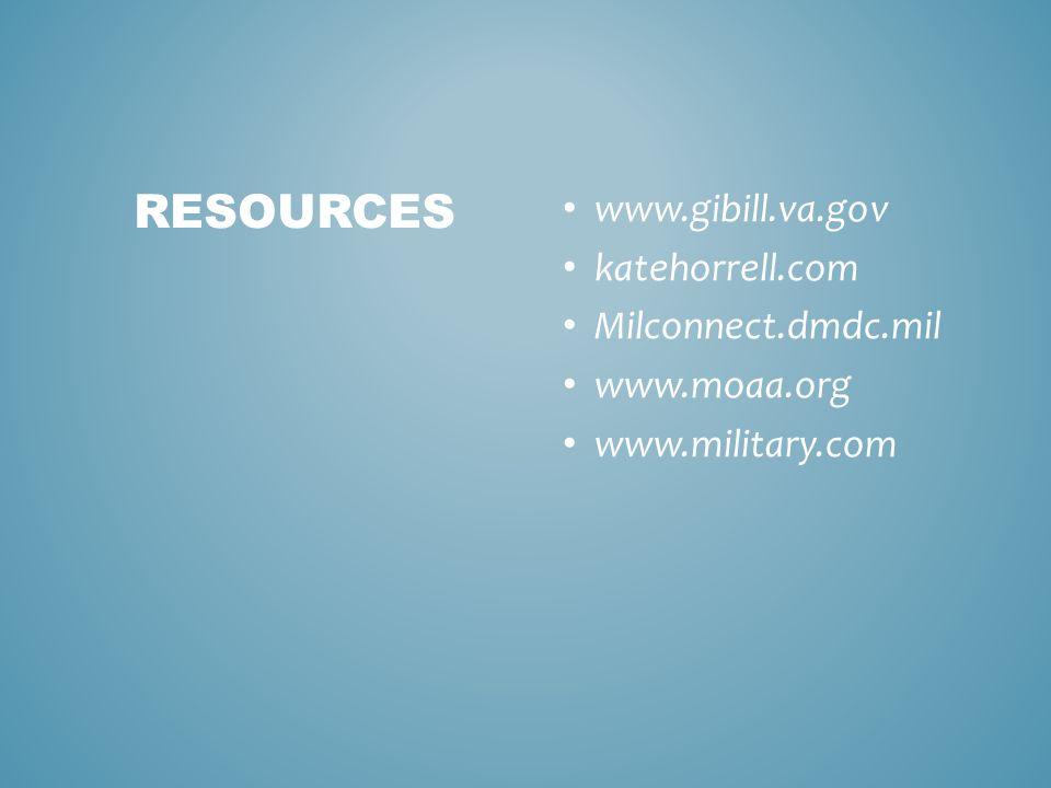 www.gibill.va.gov katehorrell.com Milconnect.dmdc.mil www.moaa.org www.military.com RESOURCES