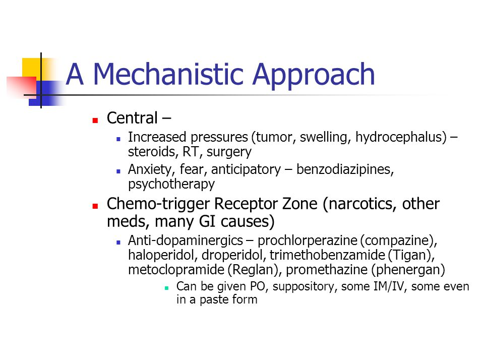 A Mechanistic Approach Central – Increased pressures (tumor, swelling, hydrocephalus) – steroids, RT, surgery Anxiety, fear, anticipatory – benzodiazipines, psychotherapy Chemo-trigger Receptor Zone (narcotics, other meds, many GI causes) Anti-dopaminergics – prochlorperazine (compazine), haloperidol, droperidol, trimethobenzamide (Tigan), metoclopramide (Reglan), promethazine (phenergan) Can be given PO, suppository, some IM/IV, some even in a paste form