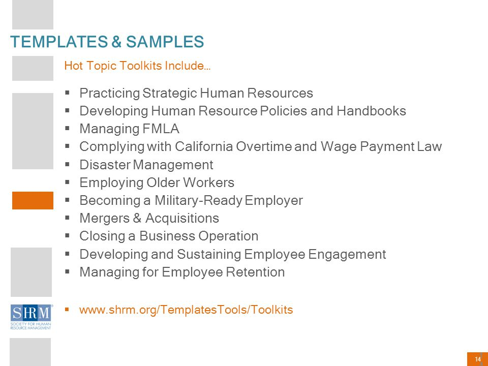 14 TEMPLATES & SAMPLES Hot Topic Toolkits Include…  Practicing Strategic Human Resources  Developing Human Resource Policies and Handbooks  Managin